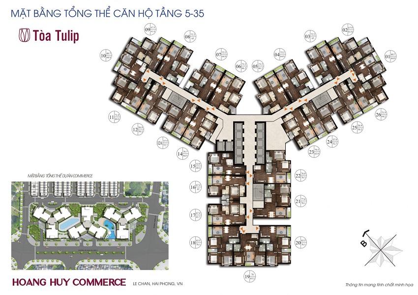 Mặt bằng tầng điển hình tòa Tulip Chung cư Hoàng Huy Commerce