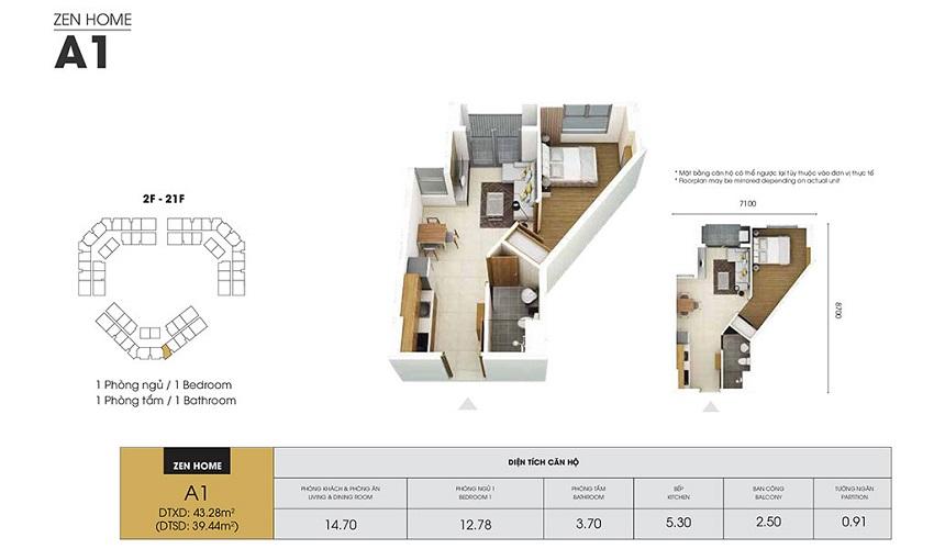 Thiết kế căn hộ A1 - 39,44 m2