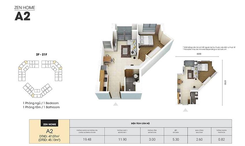 Thiết kế căn hộ A2 - 43,13 m2