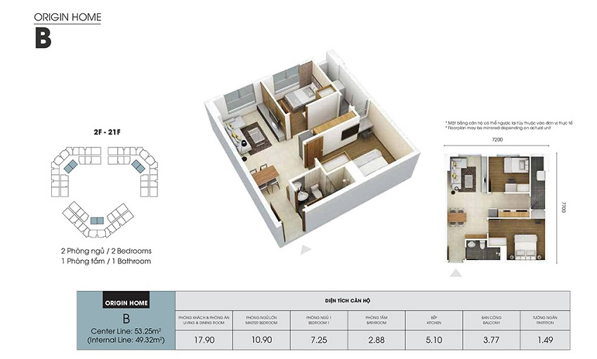 Thiết kế căn hộ B - 49,32 m2