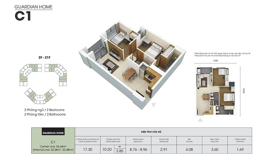 Thiết kế căn hộ C1 - 52,28 m2