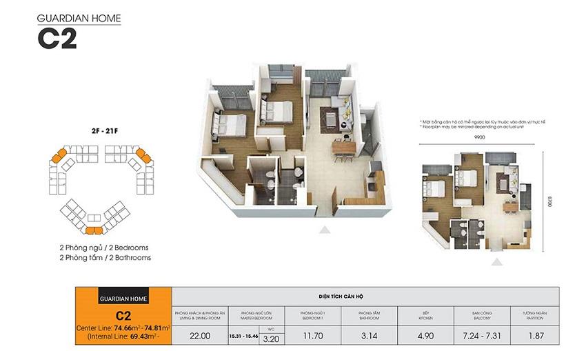 Thiết kế căn hộ C2 - 69,43 m2