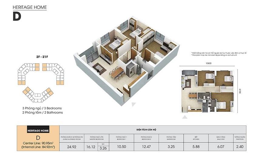 Thiết kế căn hộ D - 84,92 m2