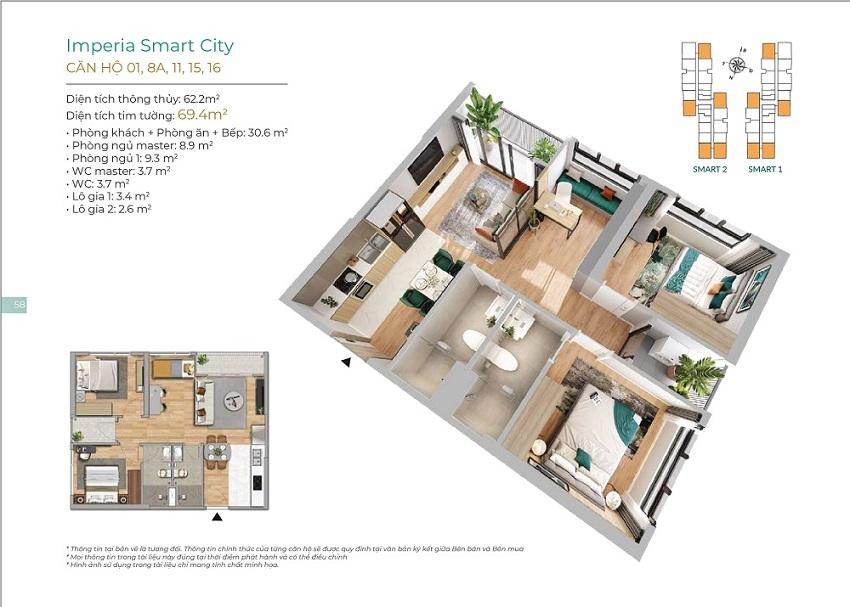 Thiết kế căn hộ 01, 8A, 11, 15, 16