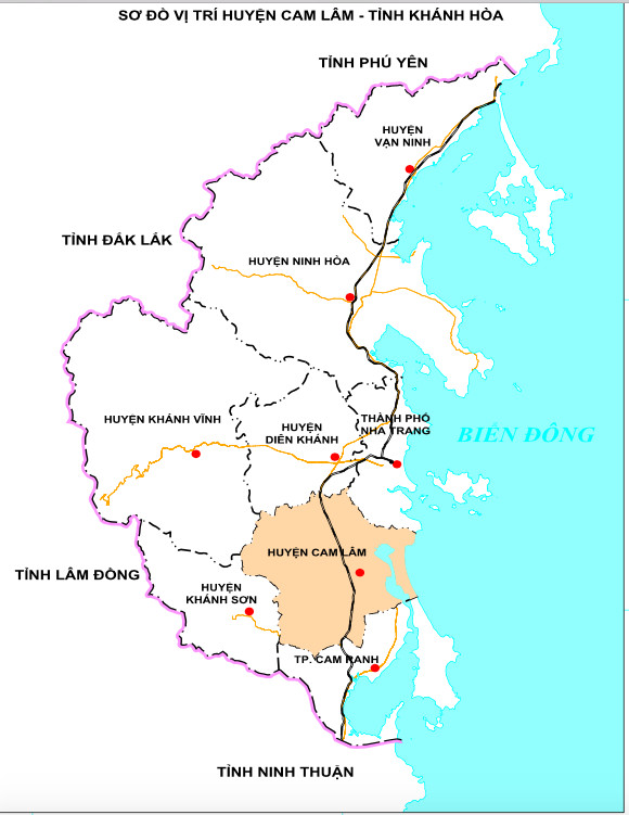 Sơ đồ vị trí Huyện Cam Lâm - Khánh Hòa